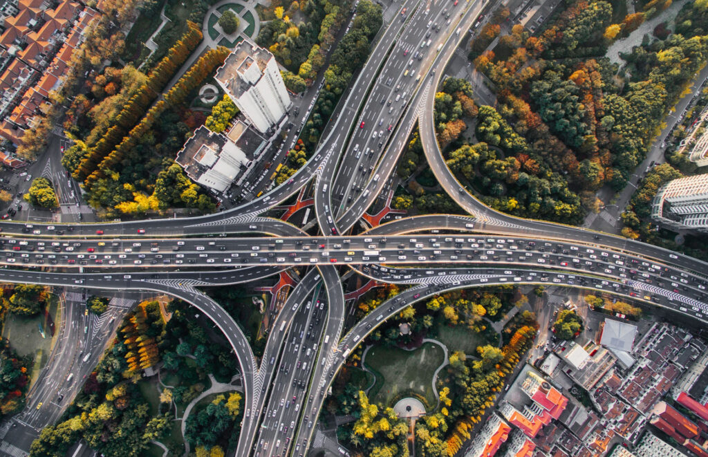 highways with many cars in shanghai