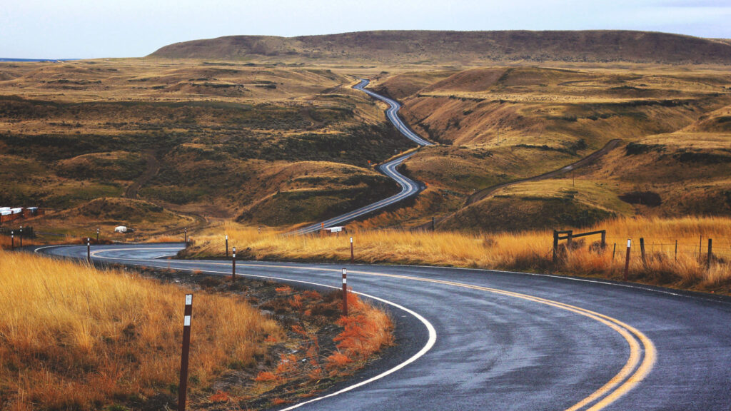 road winding through fields